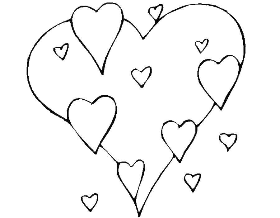 Раскраска Сердечки Скачать фигура, сердце.  Распечатать ,фигуры,