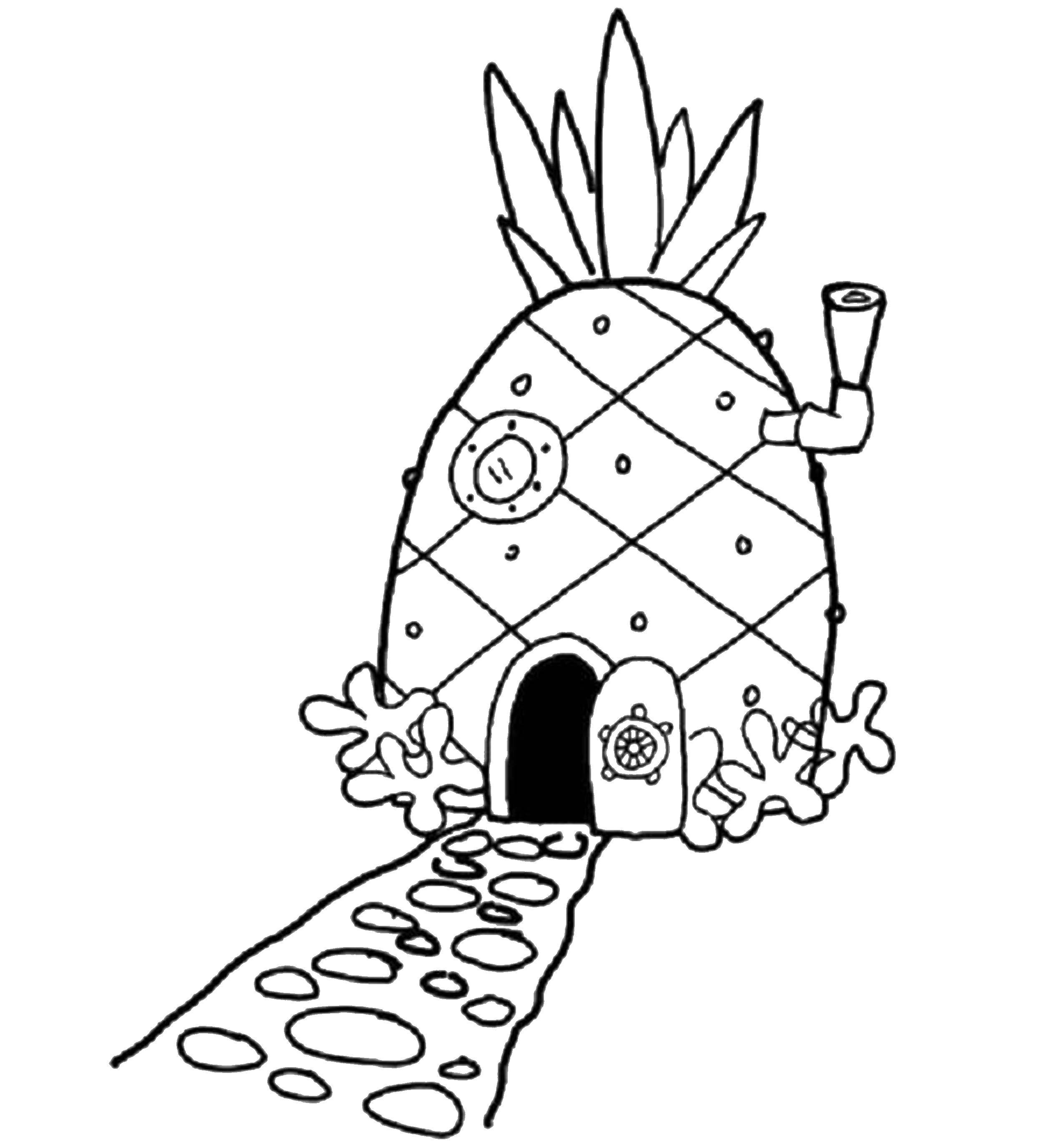 Раскраска Ананас дом спанч боба Скачать ,Спанч боб, Ананас, домик,.  Распечатать