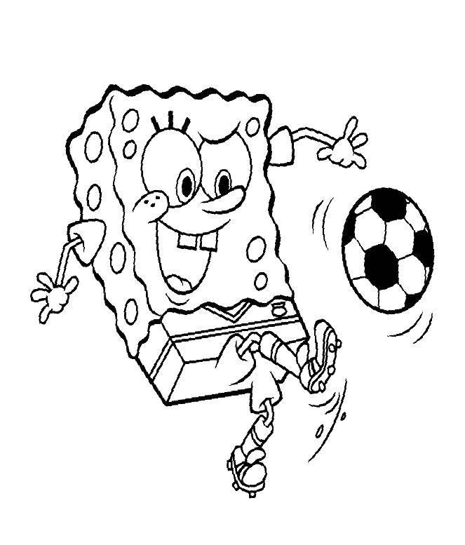 Раскраска Спанч боб играет в футбол Скачать мультфильмы, спорт, футбол, Спанч боб.  Распечатать ,Спанч Боб,