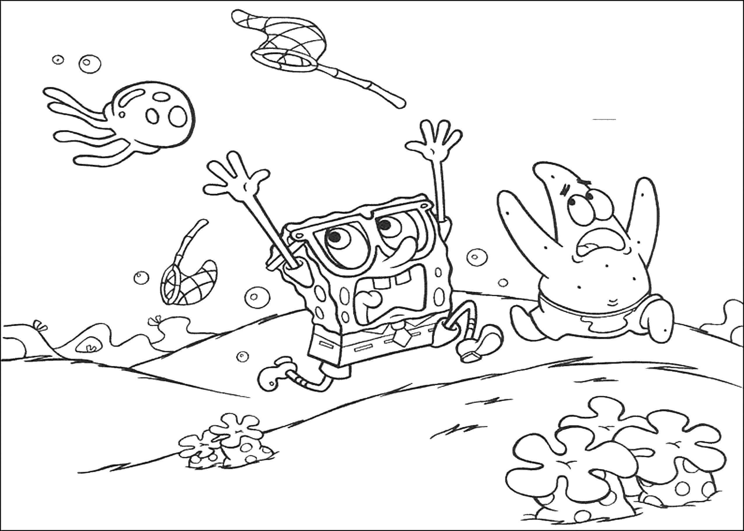 Раскраска Спанч боб, патрик и медуза Скачать Спанч Боб, Патрик, медуза.  Распечатать ,Спанч Боб,
