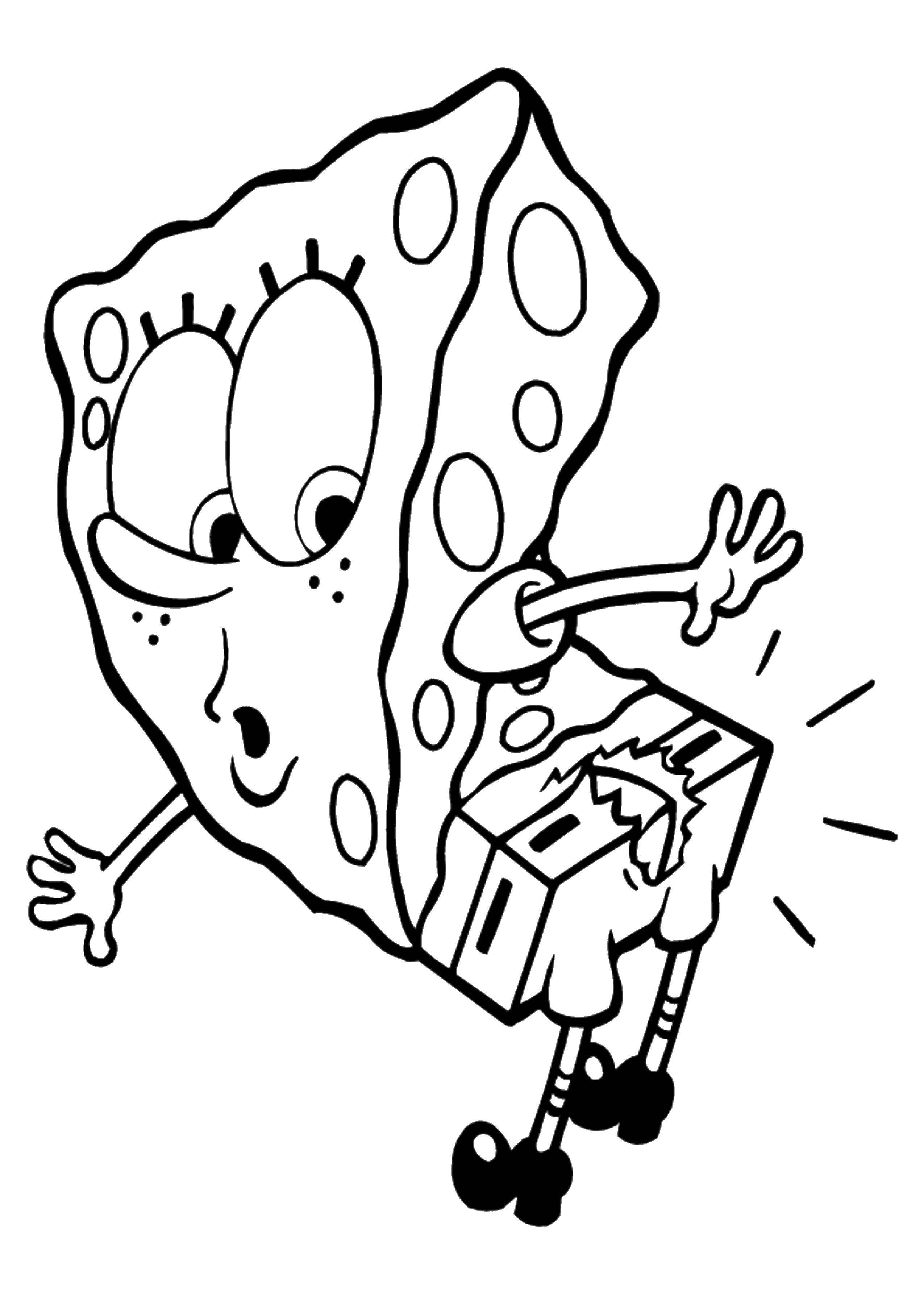 Раскраска Спанч боб порвал штаны Скачать ,Спанч Боб, штаны, мультфильм,.  Распечатать