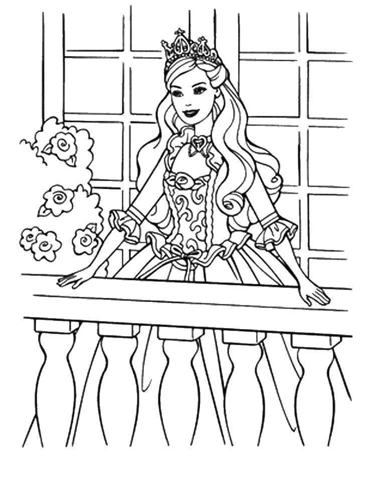 Раскраска Барби стоит на балконе Скачать барби, балкон.  Распечатать ,Барби,