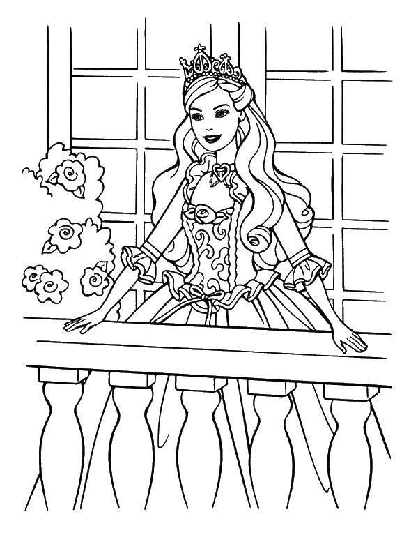 Раскраска Принцесса стоит на балконе Скачать принцесса, девочки, барби.  Распечатать ,Барби,