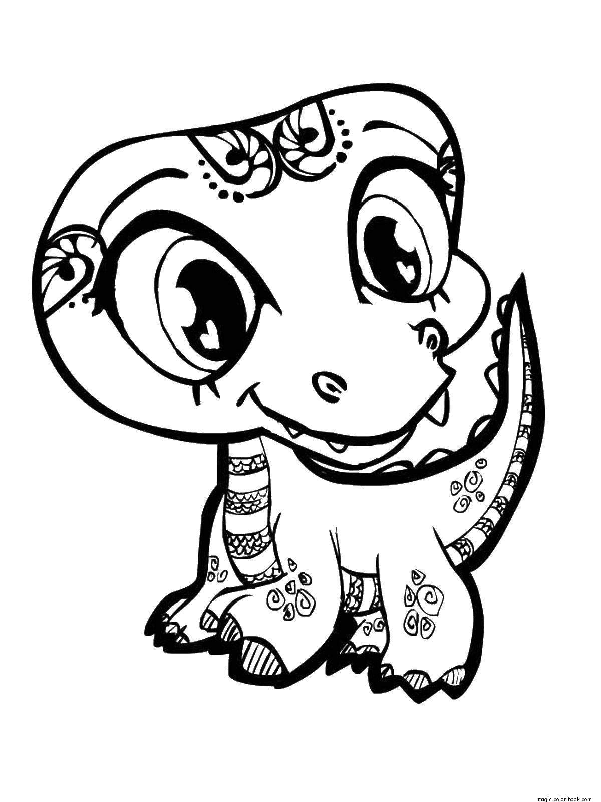 Раскраска Расписной крокодильчик. Скачать животные, узоры, крокодильчик.  Распечатать ,животные,
