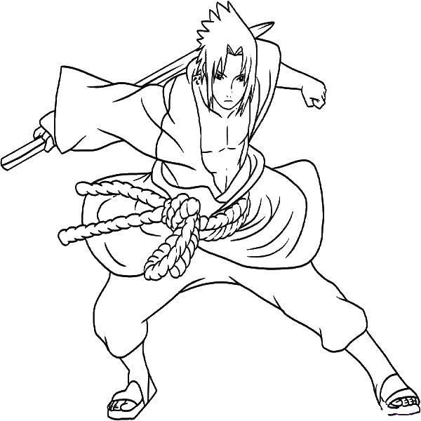 Раскраска Герой аниме с мечем Скачать аниме.  Распечатать ,Для мальчиков,