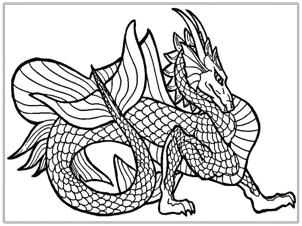 Раскраска Дракон с хвостом. Скачать дракон, чешуя, хвост.  Распечатать ,Драконы,