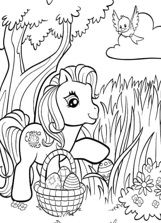 Раскраска Пони из my little pony с пасхальными яйцами. Скачать ,Пони, My little pony ,.  Распечатать
