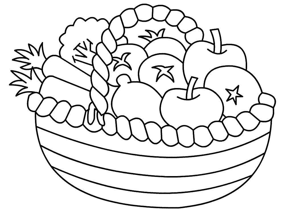 Раскраска Фрукты и овощи в корзине Скачать Овощи, фрукты, ягоды.  Распечатать ,Фрукты,