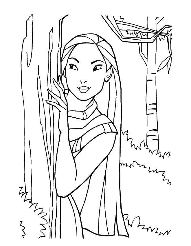 Раскраска Мулан за деревом Скачать Дисней, Мулан.  Распечатать ,Диснеевские раскраски,