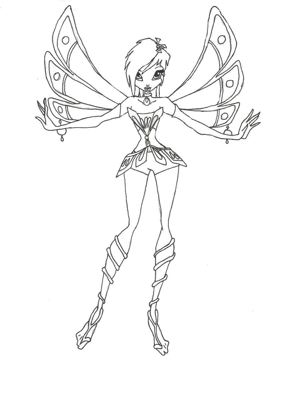 Раскраска Текна из мультфильма winx с красивыми крылышками Скачать Персонаж из мультфильма, Winx.  Распечатать ,Винкс,