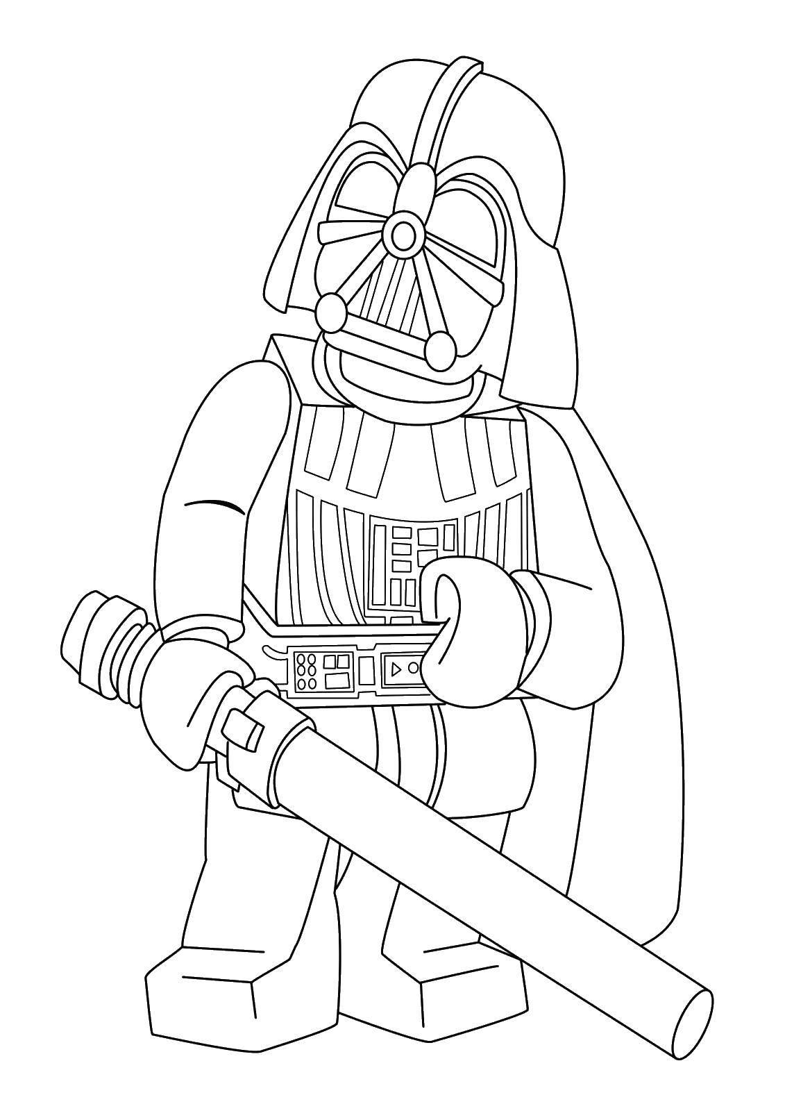 Раскраска Дарт вейдер с мечом Скачать Дарт Вейдер, лего.  Распечатать ,Лего,
