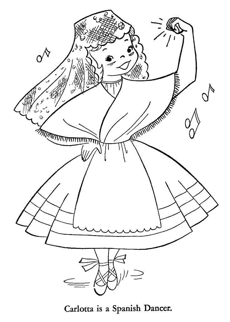 Раскраска Карлотта Скачать танцы, Карлотта, испанские танцы.  Распечатать ,Танцы,