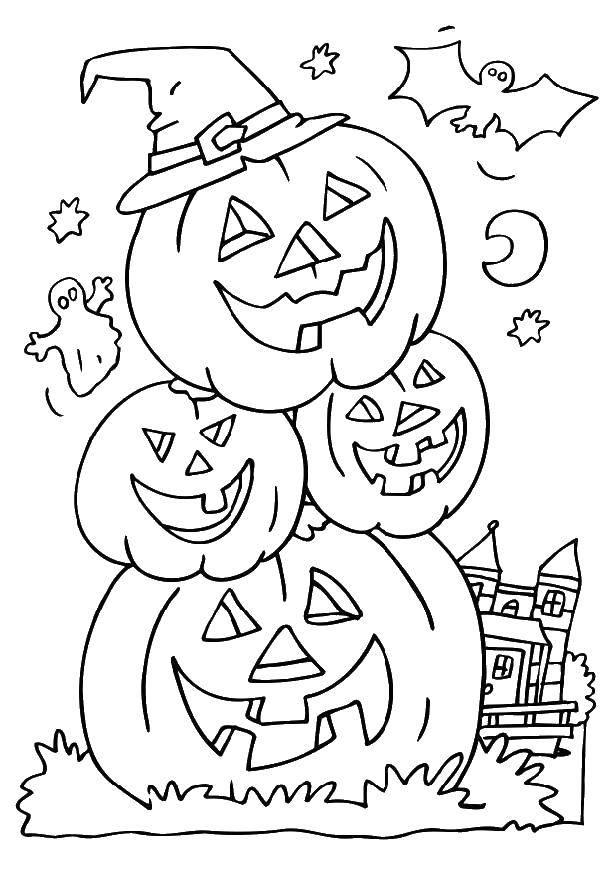 Раскраска Тыквы ведьмы на хэллуин. Скачать Хэллоуин, ведьма.  Распечатать ,Хэллоуин,