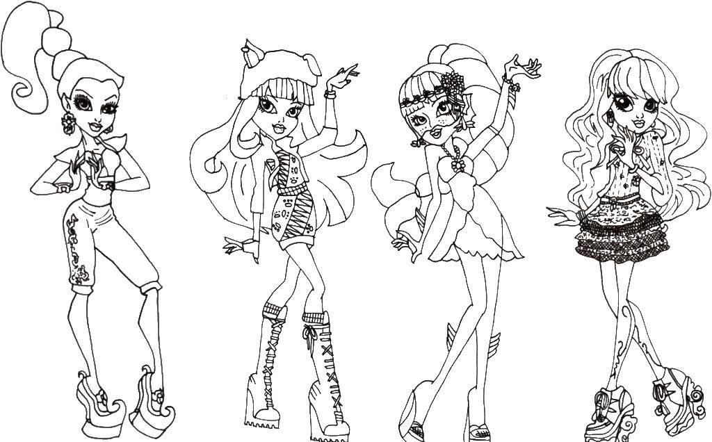 Раскраска Красивые девочки из монстр хай Скачать Монстр хай, девочки.  Распечатать ,Монстр хай,