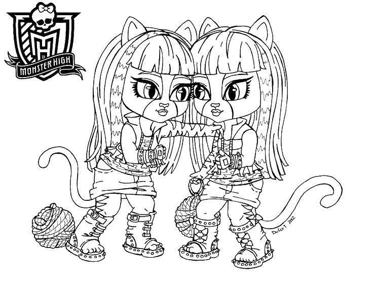 Раскраска Монстер хай кошки Скачать Монстер Хай, кукла, мультфильмы, кошки.  Распечатать ,Монстр хай,