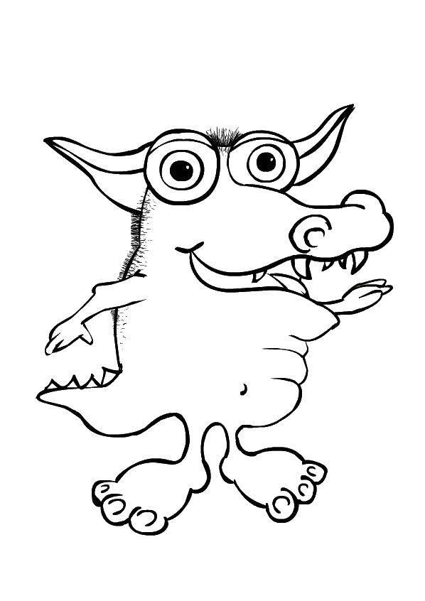 Раскраска Монстрик свинка. Скачать монстры. свинка.  Распечатать ,Монстры,