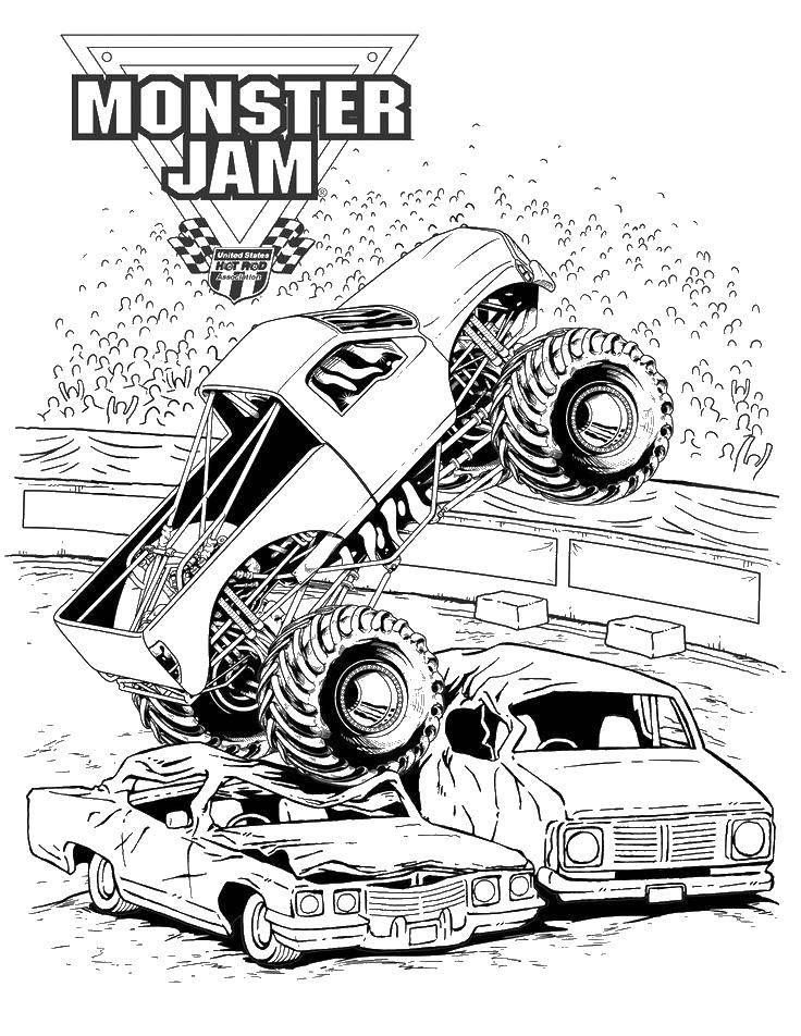 Раскраска Монстр джэм Скачать машины, авария.  Распечатать ,машины,