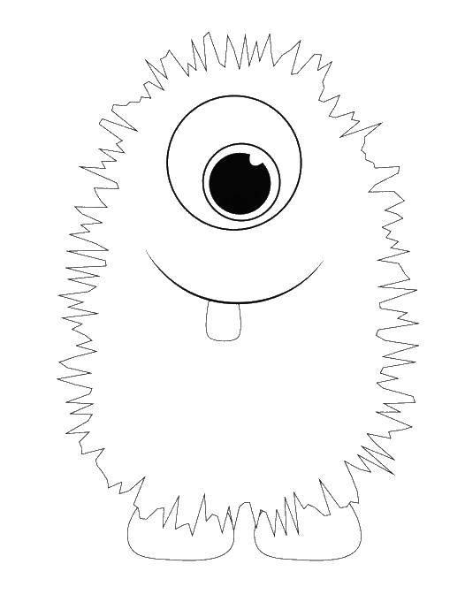 Раскраска Монстрик с зубиком Скачать ,монстры, зуб,.  Распечатать