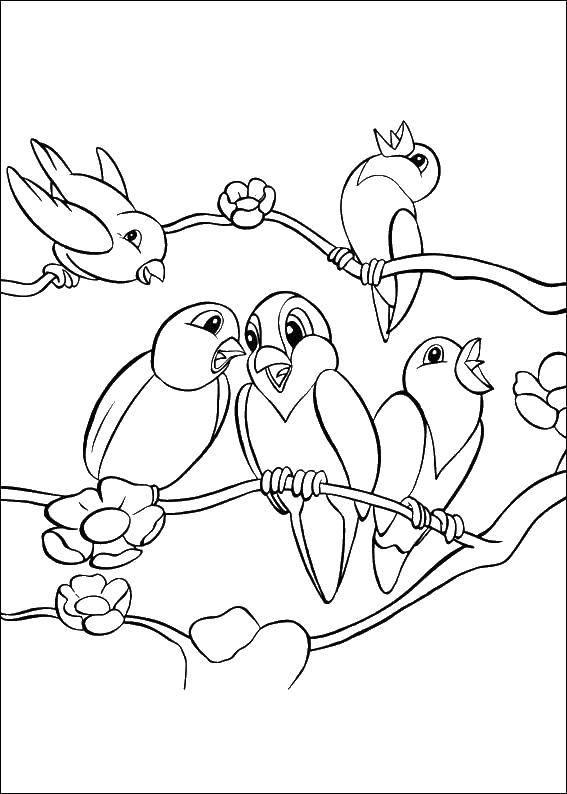 Раскраска Маленькие птички поет. Скачать птицы, пение, птички.  Распечатать ,Птицы,