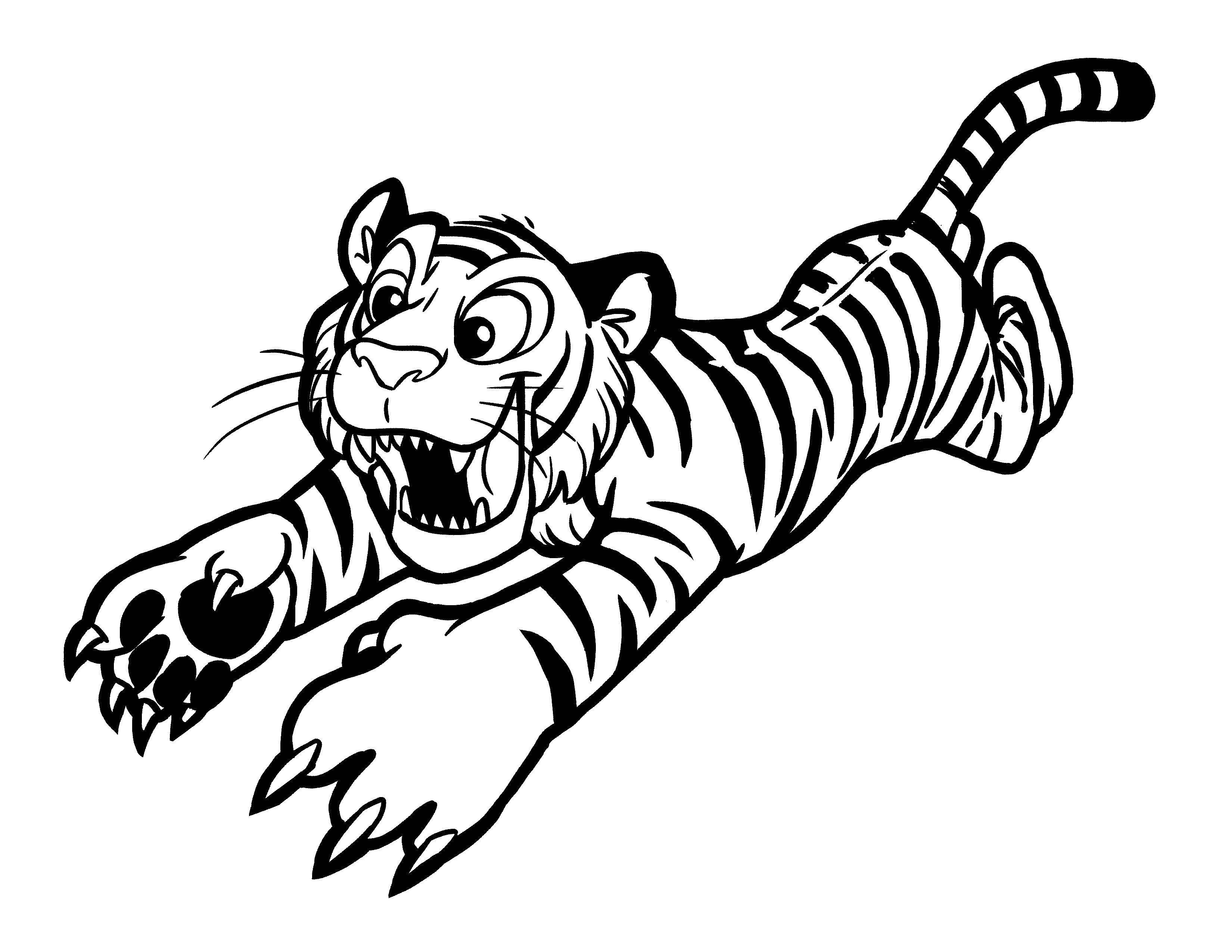 Раскраска Тигр нападает. Скачать тигр, животные.  Распечатать ,детеныши животных,