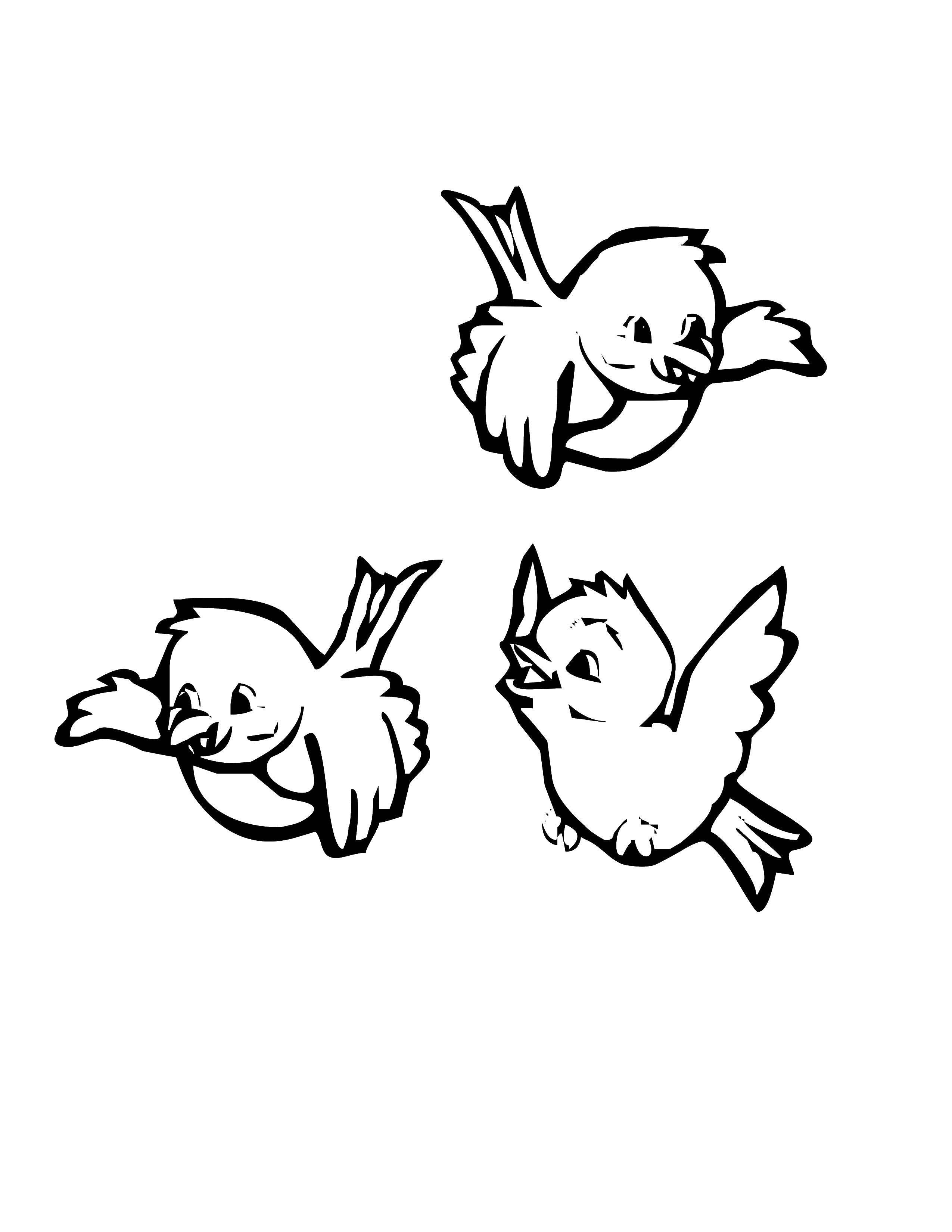 Раскраска Три маленькие птички Скачать птицы, птички.  Распечатать ,Птицы,