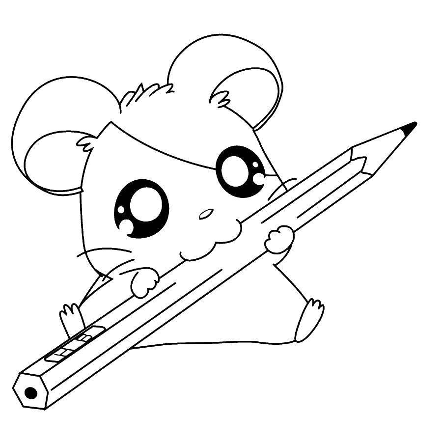 Раскраска Мышка грызет карандаш Скачать животные, мышка, карандаш.  Распечатать ,детеныши животных,