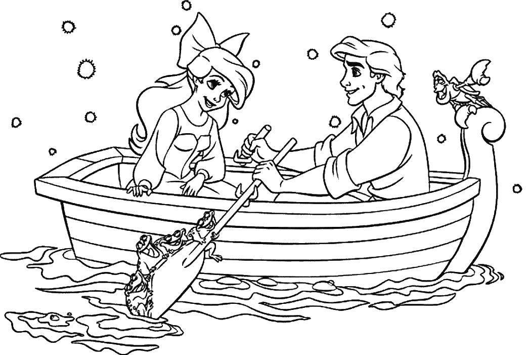 Раскраска Себастиян поет для ариэль и принца. Скачать Принцесса, ариэль, Эрик.  Распечатать ,Русалочка,