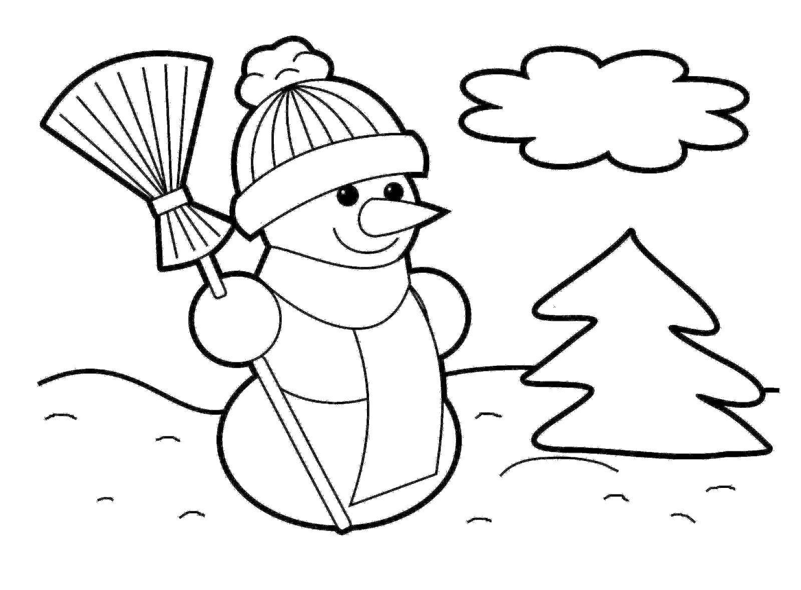 Раскраска снег Скачать мишка, заяц, керлинг.  Распечатать ,олимпийские игры,