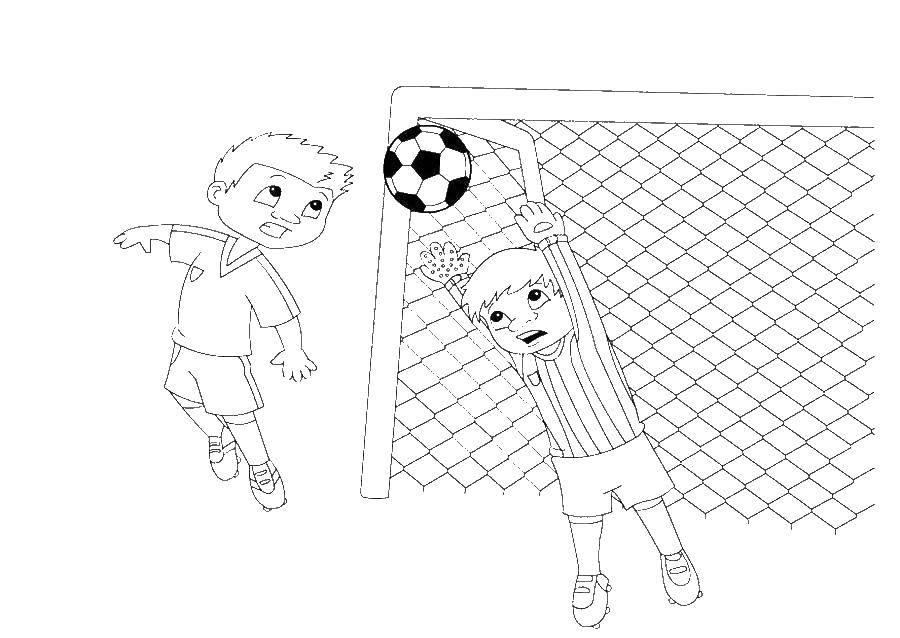 Название: Раскраска Вратарь ловит мяч у ворот. Категория: спорт. Теги: Спорт, футбол, мяч, игра, вратарь.