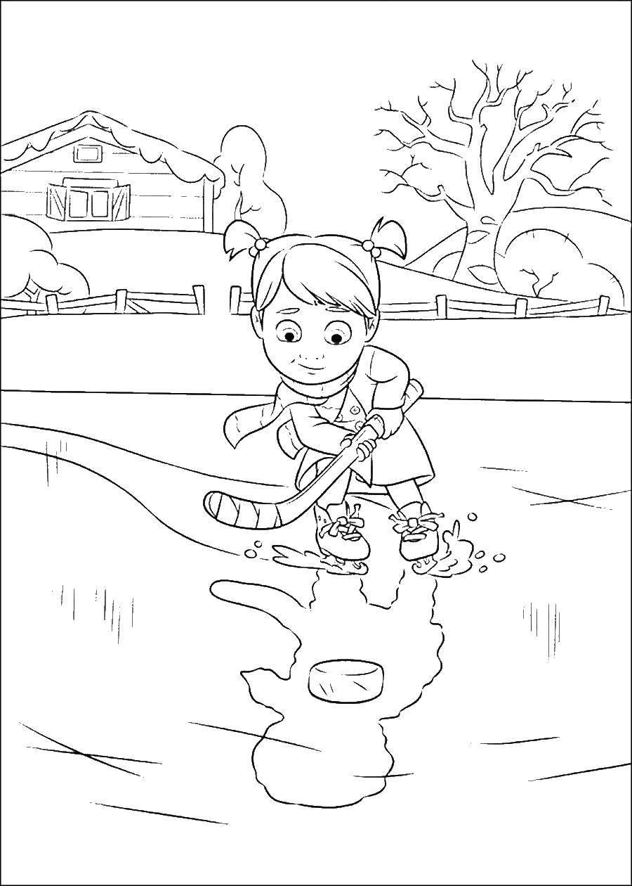 Раскраска Девочка играет в хоккей на льду Скачать Спорт, хоккей.  Распечатать ,спорт,