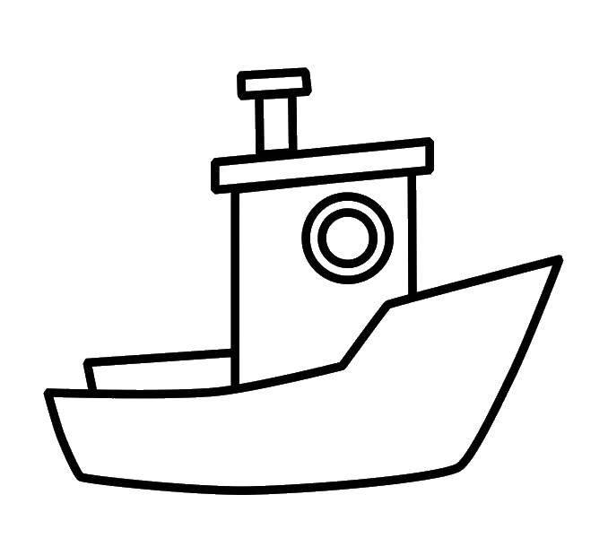 Название: Раскраска Маленький корабль. Категория: корабль. Теги: Корабль, вода.