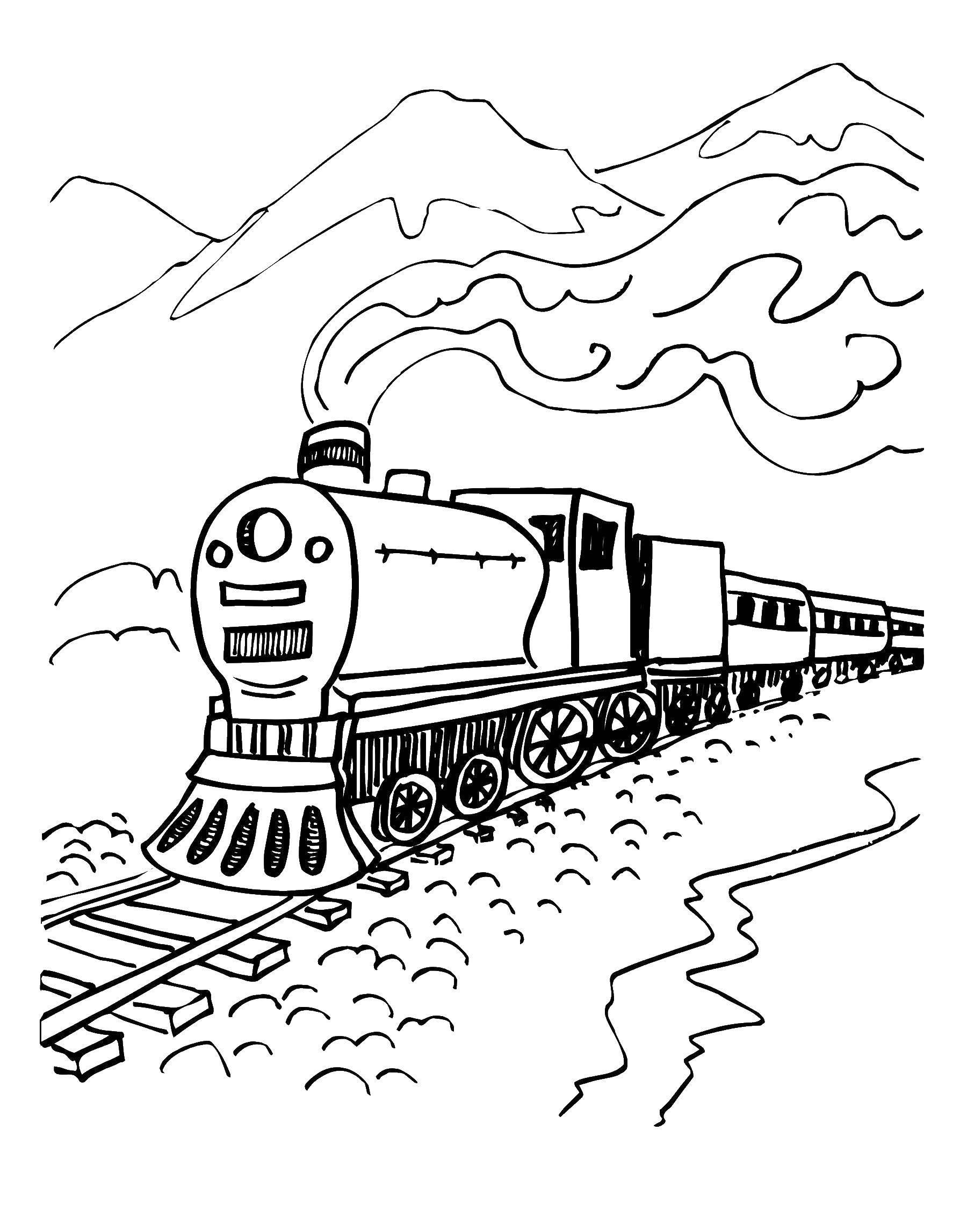 Раскраска Паровоз едит между гор Скачать паровоз, горы.  Распечатать ,поезд,
