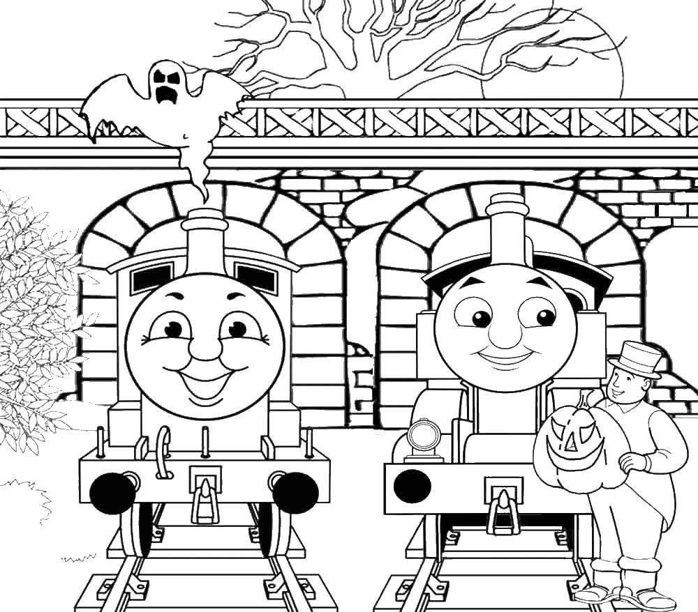 Раскраска Паровозик томас с другом на хэллоуин Скачать паровоз, Томас.  Распечатать ,мультики,