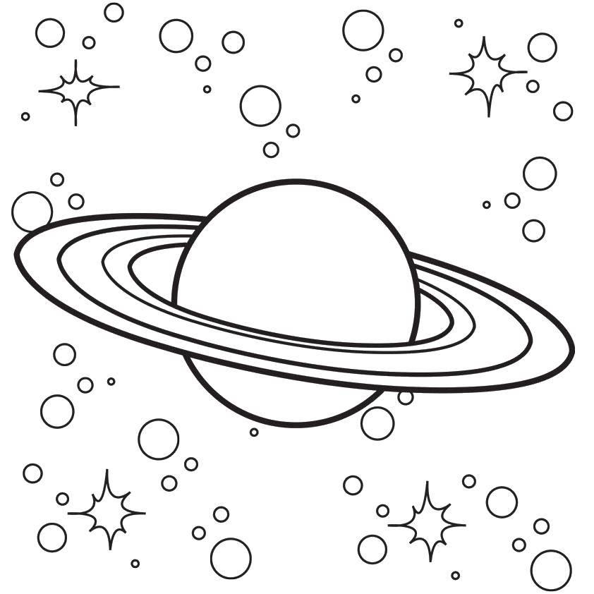 Раскраска Сатурн в космосе. Скачать Космос, планета, Вселенная, Галактика.  Распечатать ,Космические раскраски,