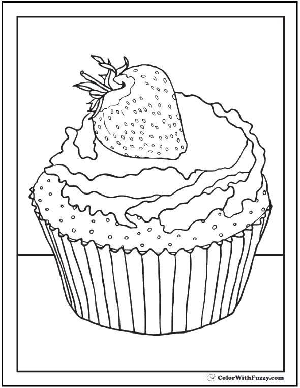 Раскраска Клубника на кесе Скачать Торт, еда, праздник.  Распечатать ,торты,