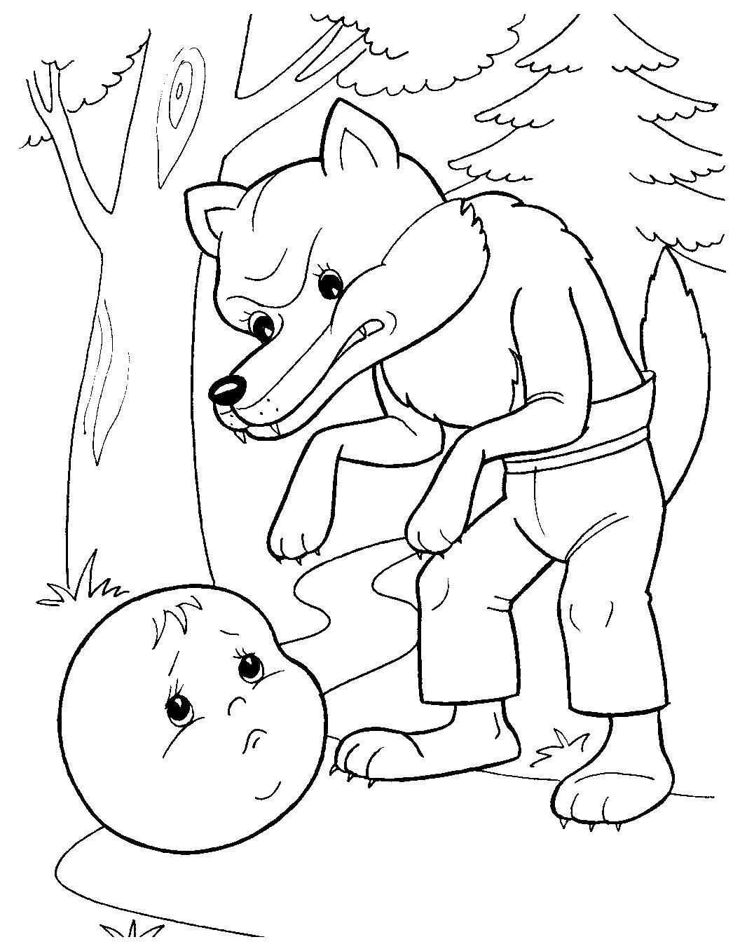 Раскраска Испуганный волком колобок. Скачать Сказки, Колобок.  Распечатать ,колобок,