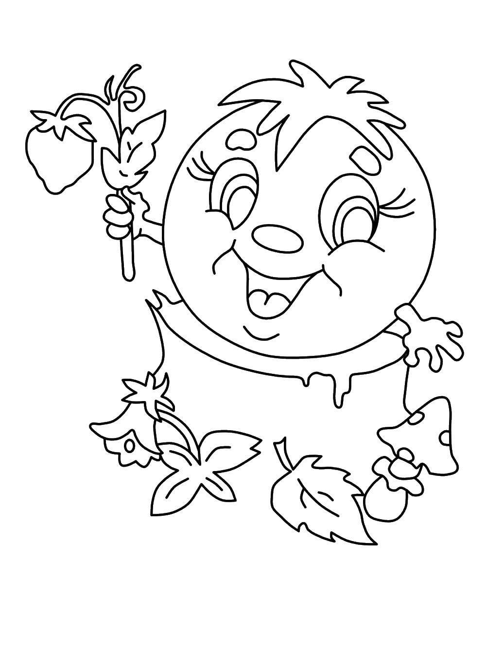 Раскраска Колобок с клубничкой. Скачать Сказки, Колобок.  Распечатать ,колобок,
