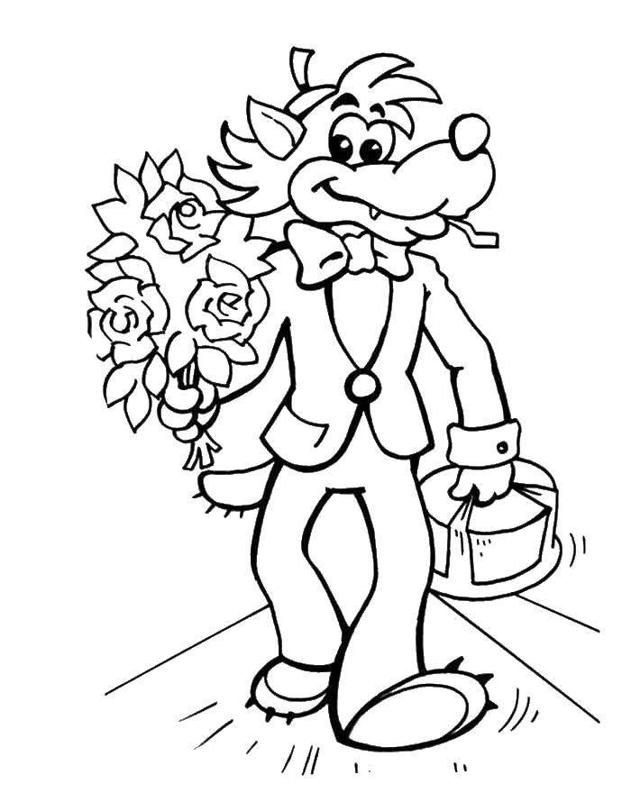 Раскраска Волк кавалер Скачать Персонаж из мультфильма, Волк, Ну, Погоди! , заяц.  Распечатать ,ну погоди,