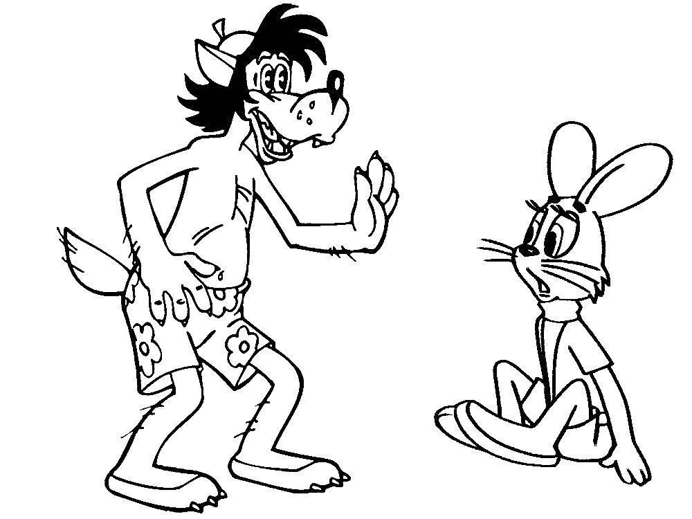 Раскраска Заяц и волк на пляже Скачать Персонаж из мультфильма, Волк, Ну, Погоди! , заяц.  Распечатать ,ну погоди,