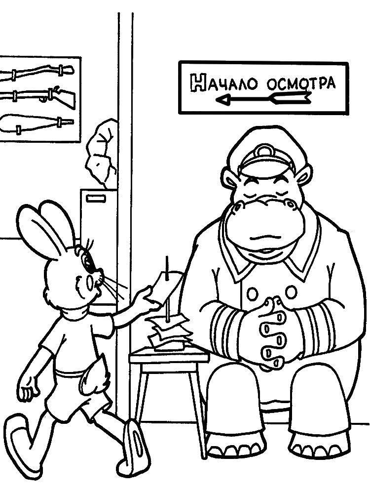 Раскраска Зайчик из ну, погоди!  Скачать Персонаж из мультфильма, Волк, Ну, Погоди! , заяц.  Распечатать ,ну погоди,