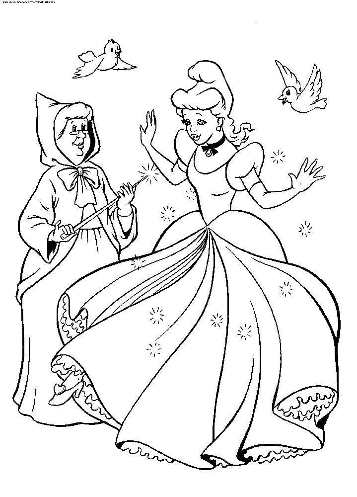 Раскраска Фея колдует новое платье золушке Скачать Золушка, туфелька.  Распечатать ,золушка и принц,