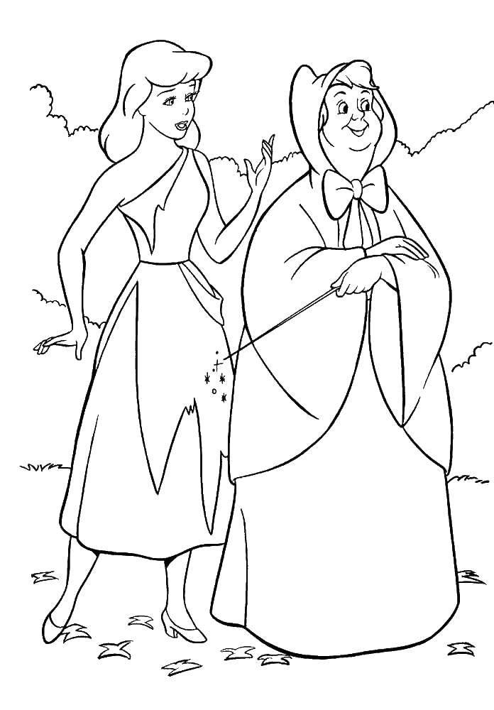 Раскраска Фея помогает золушке Скачать Золушка, туфелька.  Распечатать ,золушка и принц,