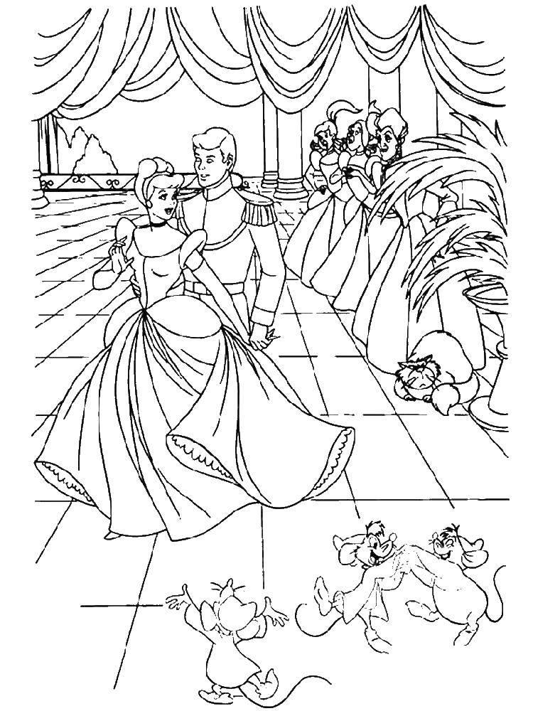 Раскраска Принц пригласил золушку на танец Скачать Золушка, принц.  Распечатать ,золушка и принц,