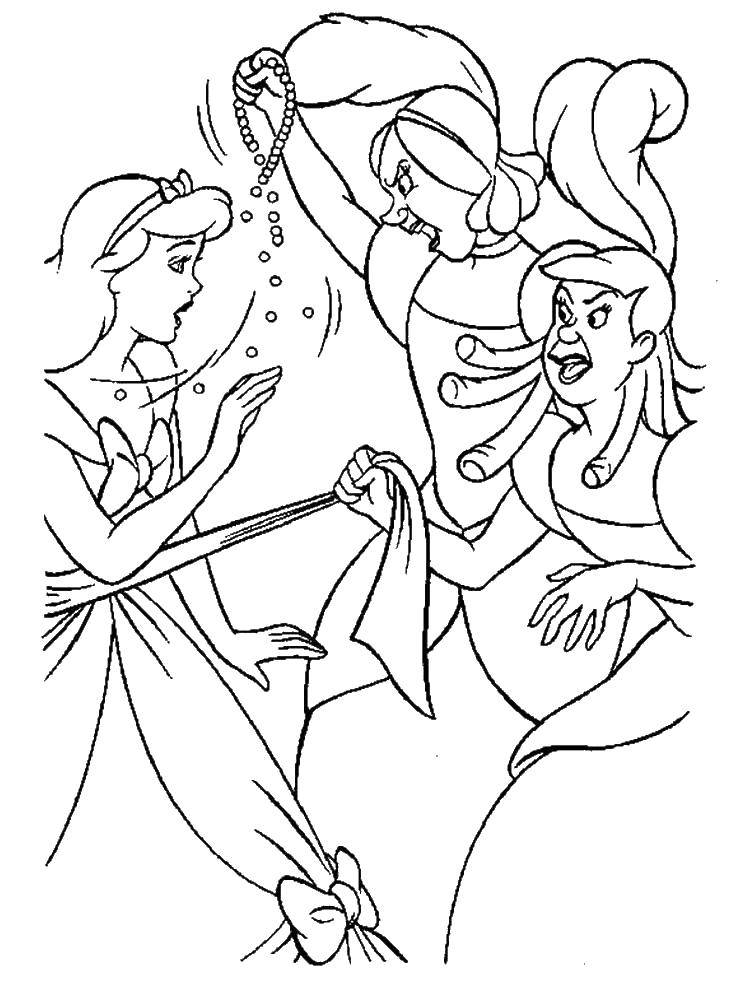 Раскраска Сестры золушки порвали платье Скачать Золушка, туфелька.  Распечатать ,золушка и принц,