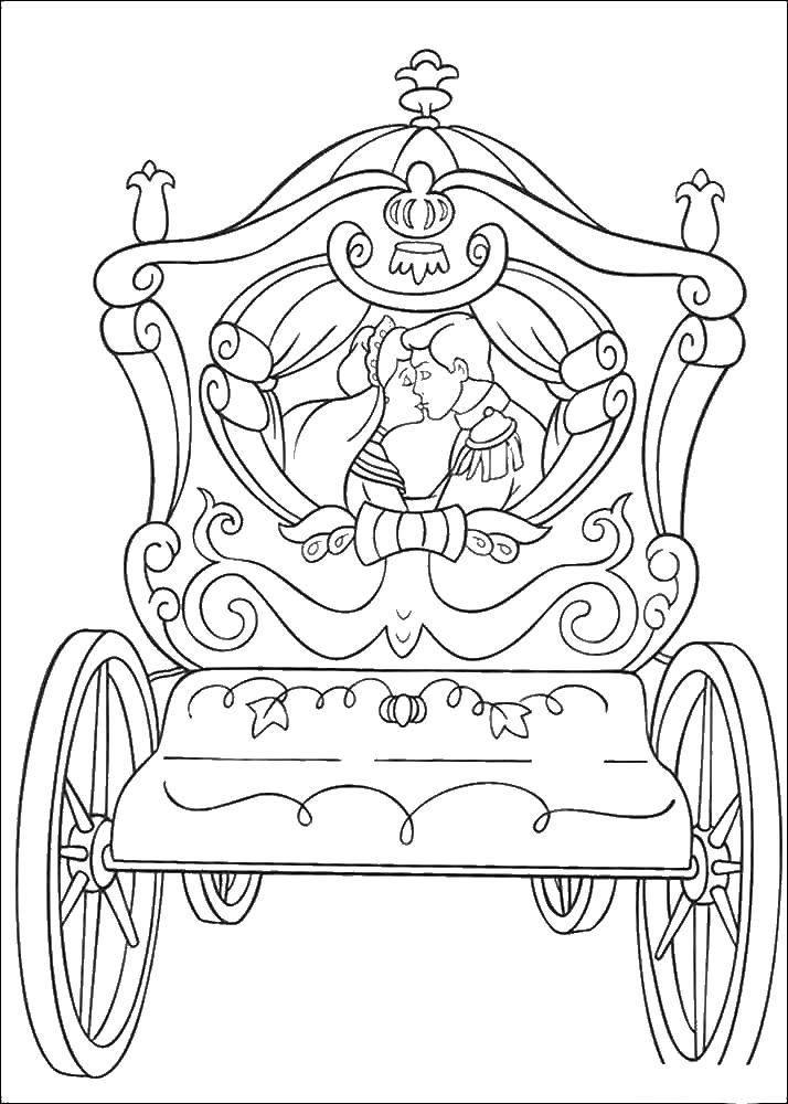 Раскраска Золушка и принц едут в карете Скачать Золушка, принц.  Распечатать ,золушка и принц,