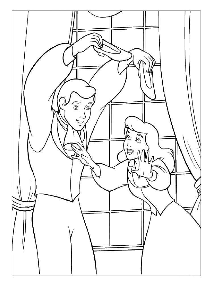 Раскраска Золушка ищет туфли Скачать Золушка, принц.  Распечатать ,золушка и принц,