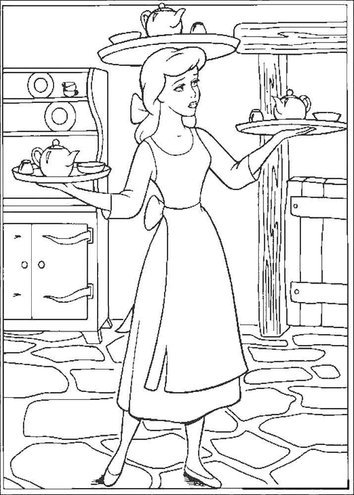 Раскраска Золушка несет поднос с чаем Скачать Золушка, поднос.  Распечатать ,золушка и принц,