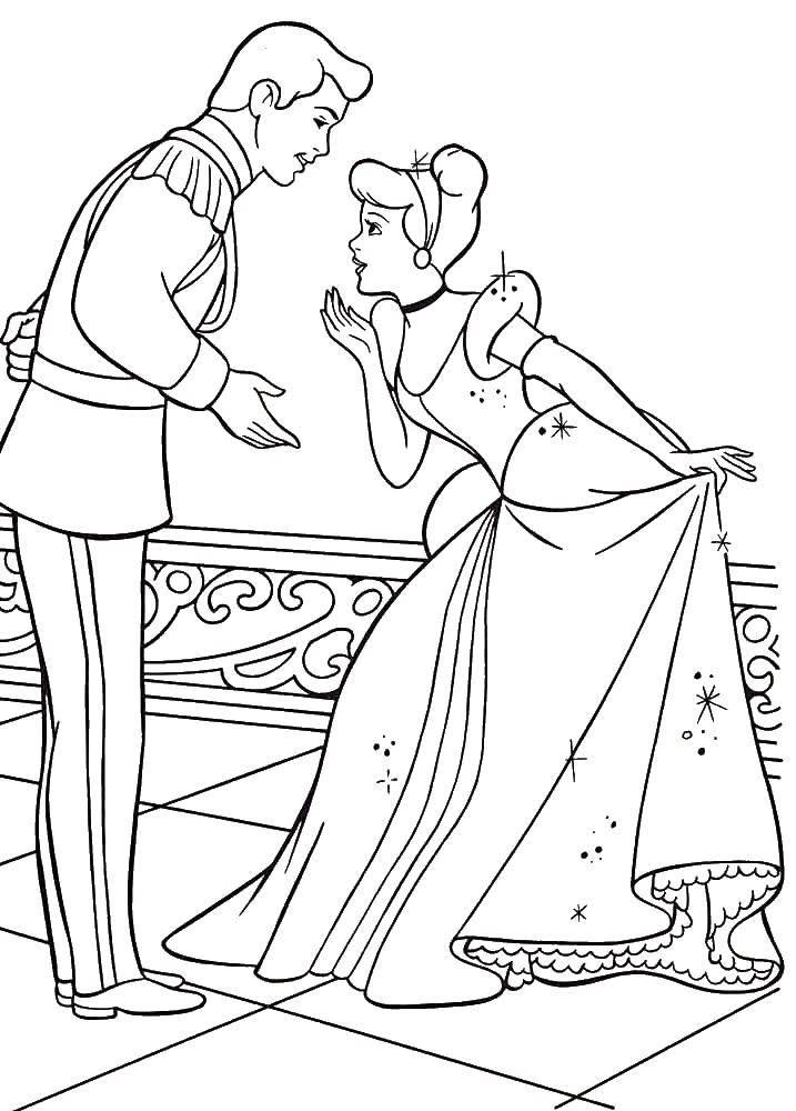 Раскраска Золушка приветствует принца Скачать Золушка, туфелька.  Распечатать ,золушка и принц,