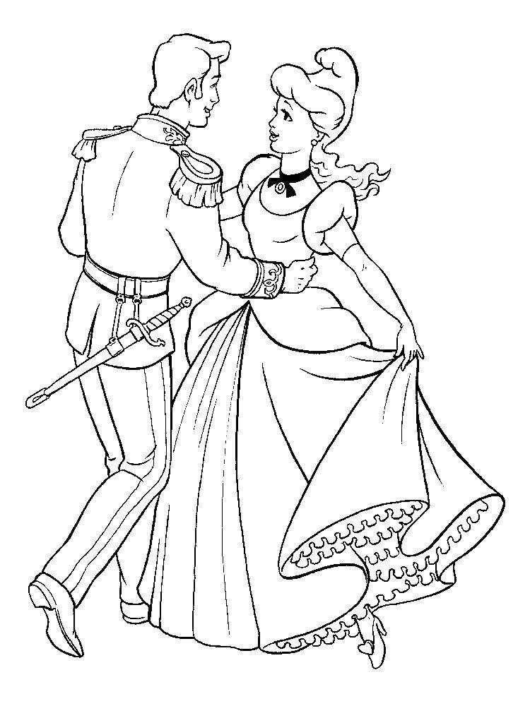 Раскраска Золушка танцует с принцем на балу Скачать Золушка, принц.  Распечатать ,золушка и принц,
