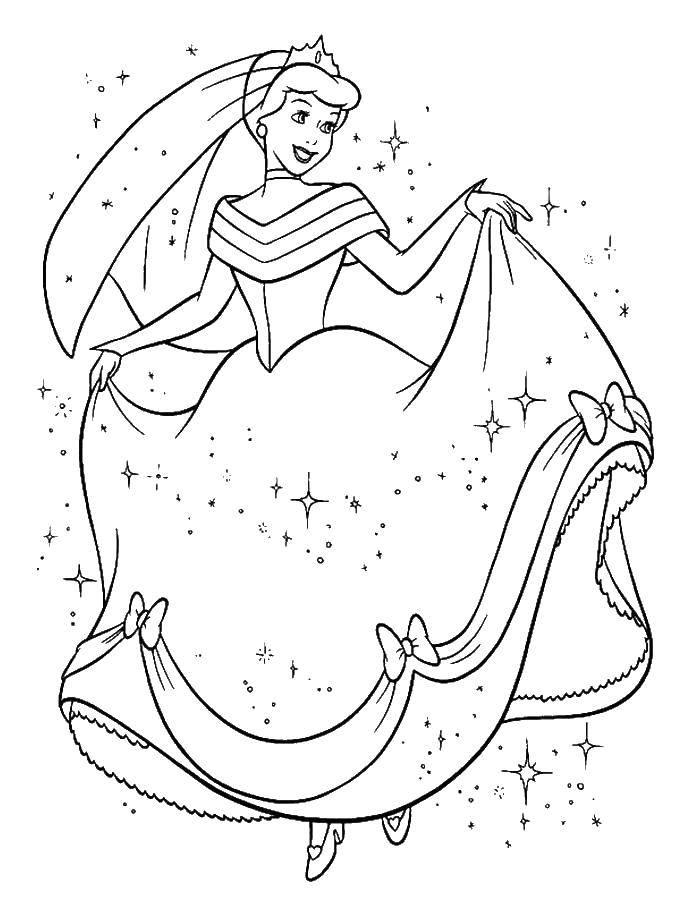 Раскраска Золушка в новом платье Скачать Золушка, принц.  Распечатать ,золушка и принц,
